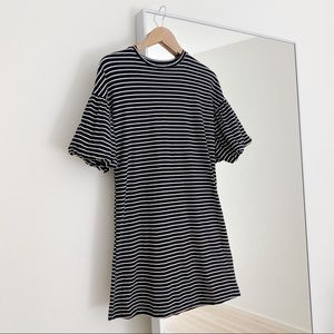 Who What Wear Black Striped Puff Sleeve Dress S